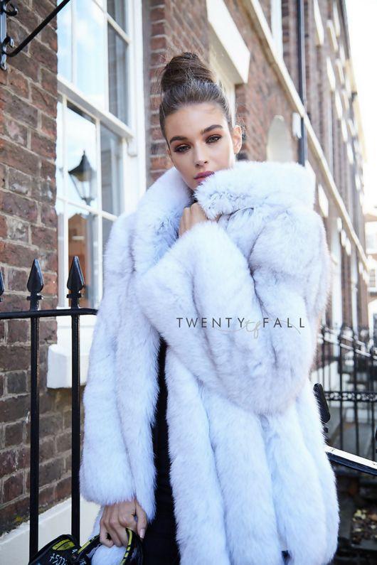 Natural Fox Fur Coat with Full Pelt Fur Sleeves and Hood