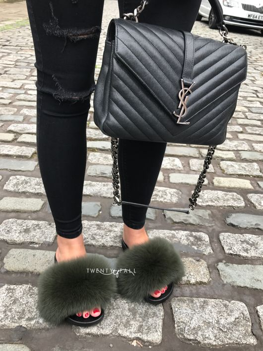 Khaki Fox Fur Sliders