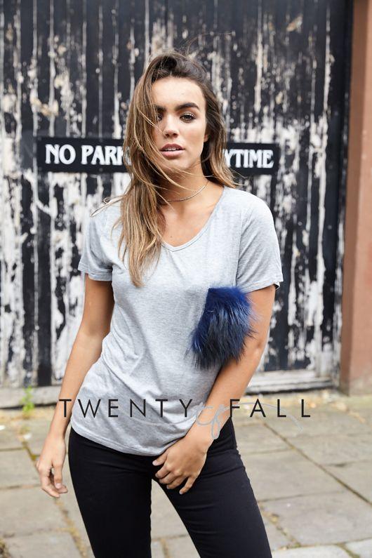 Grey T-Shirt with Navy Raccoon Fur Pocket