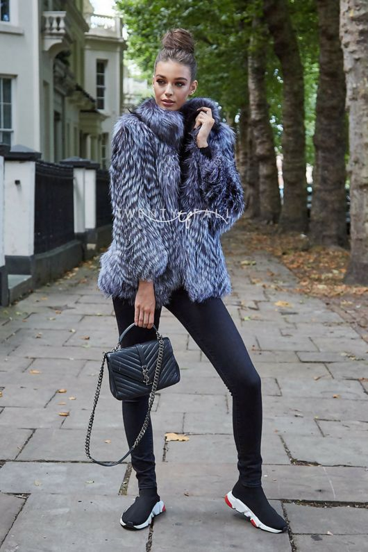 Chiara Silver Fox Fur Coat with Collar