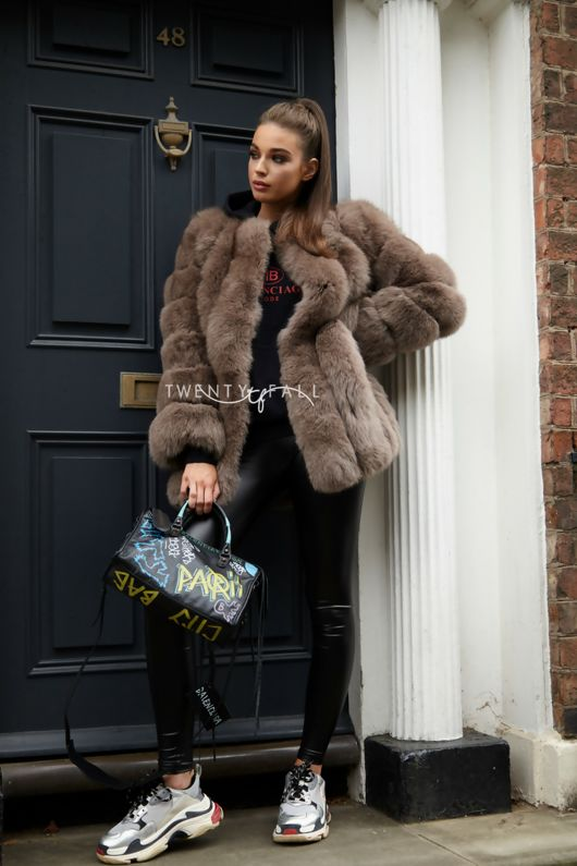 Mocha Long Fox Fur Coat