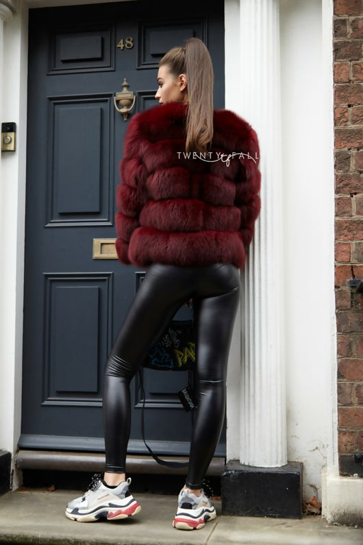 Wine Red 5 Ring Fox Fur Coat