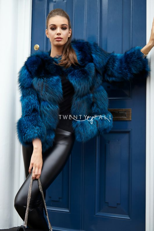 Bella Teal Silver Fox Fur Coat