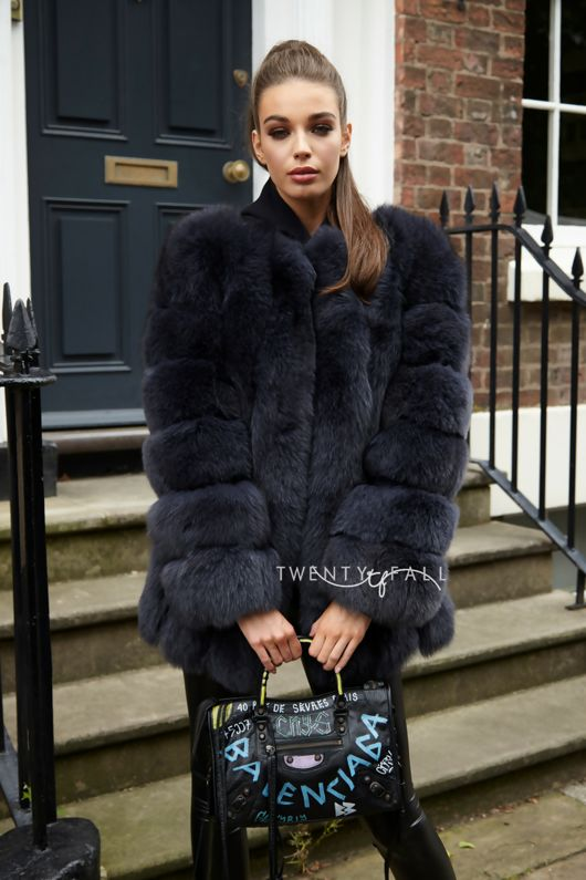Charcoal Long Fox Fur Coat