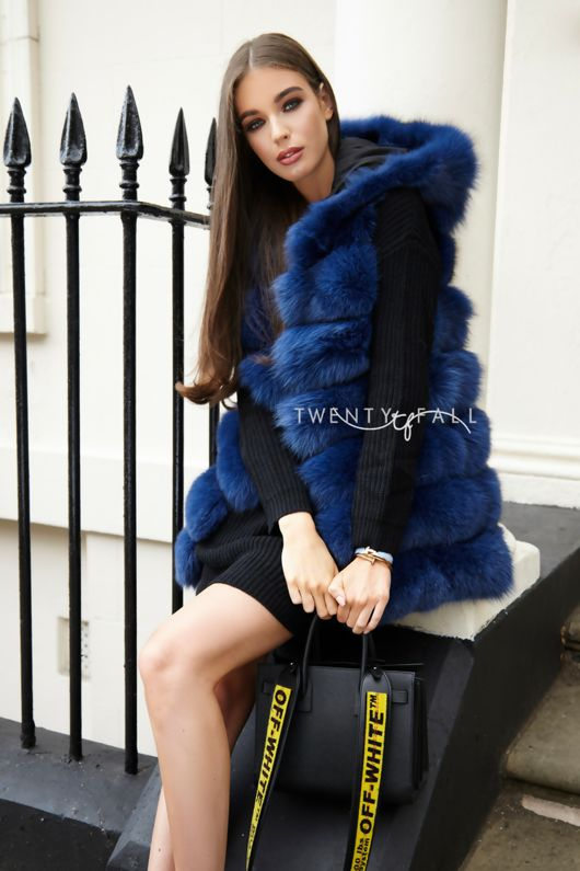 Royal Blue Hooded Fox Fur Gilet