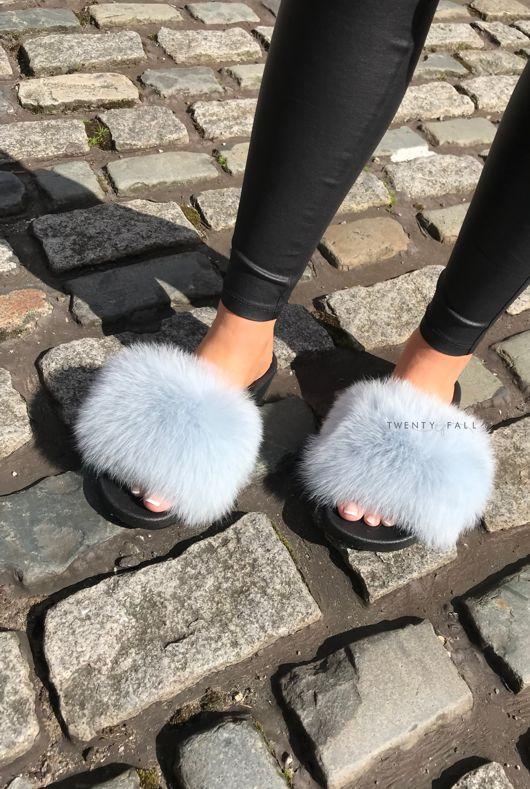 Baby Blue Fox Fur Sliders