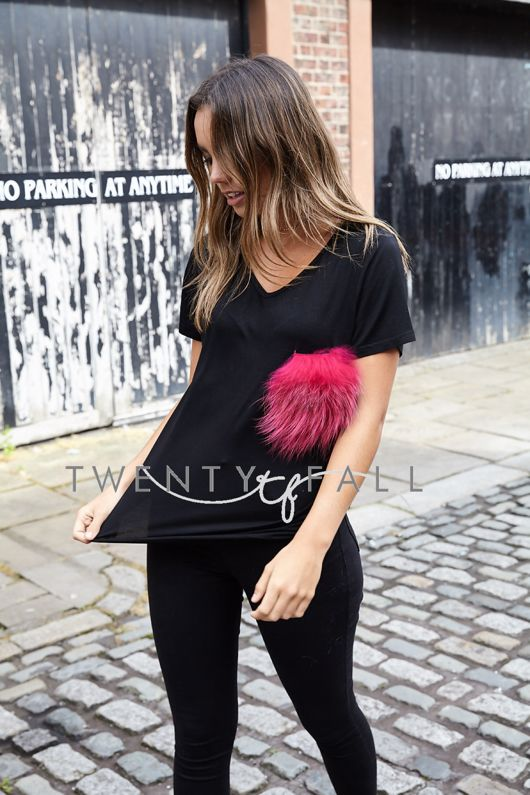 Black T-Shirt with Pink Raccoon Fur Pocket