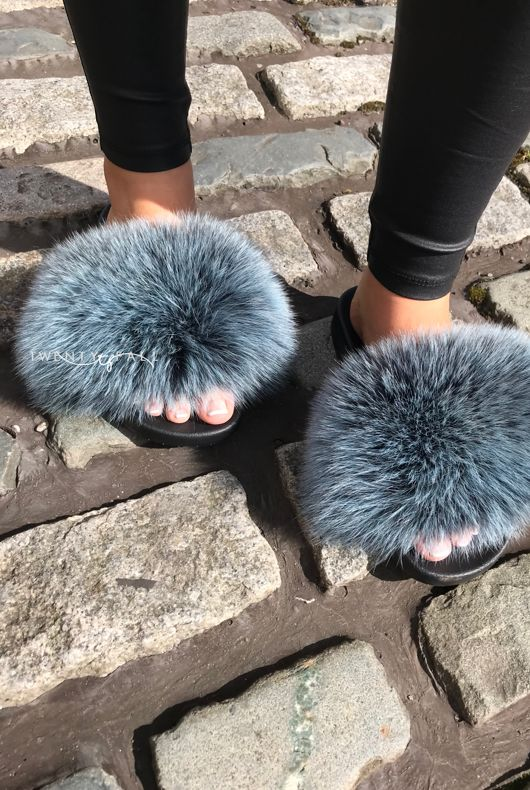 Frosted Blue Fox Fur Sliders