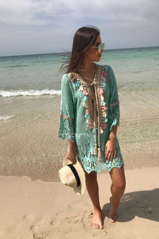 Turquoise Embellished Knit Dress