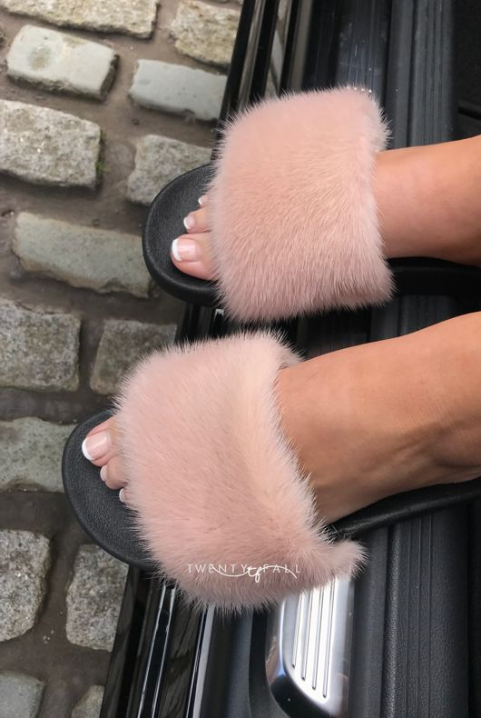 Nude Mink Fur Sliders