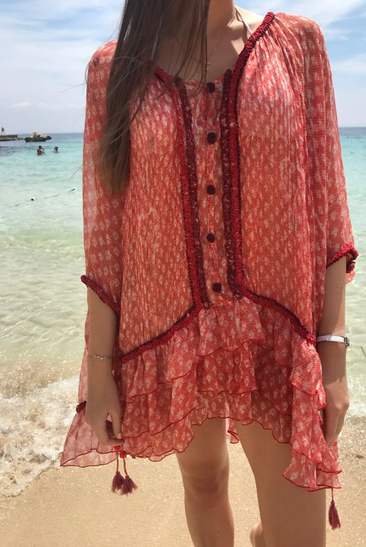 POUPETTE St Barth Bety Orange Vemizia Silk Dress