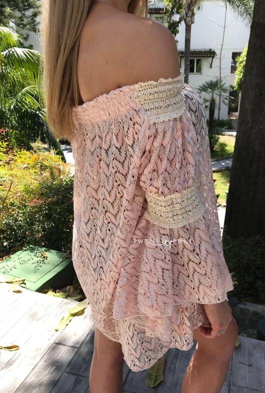 Pink Off the Shoulder Mini Dress with Sleeves