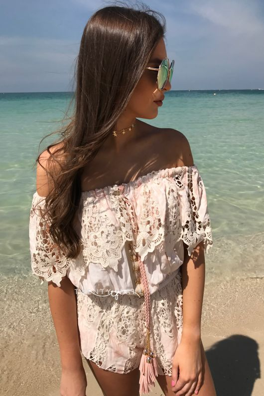 Pink Off The Shoulder Embellished Playsuit