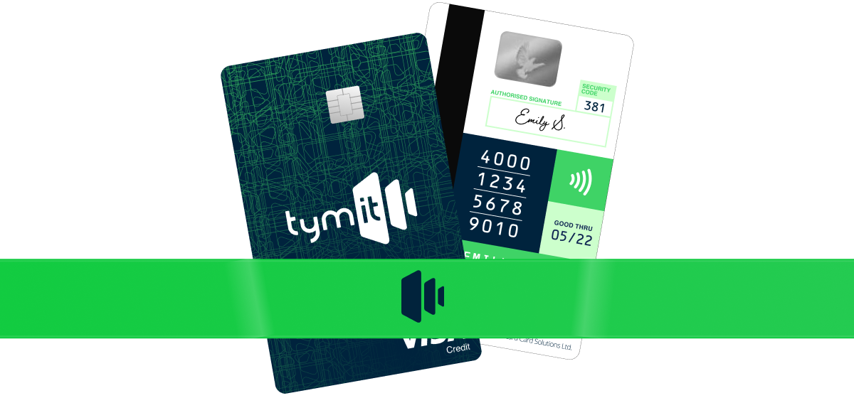 Image with an example of a Tymit credit card