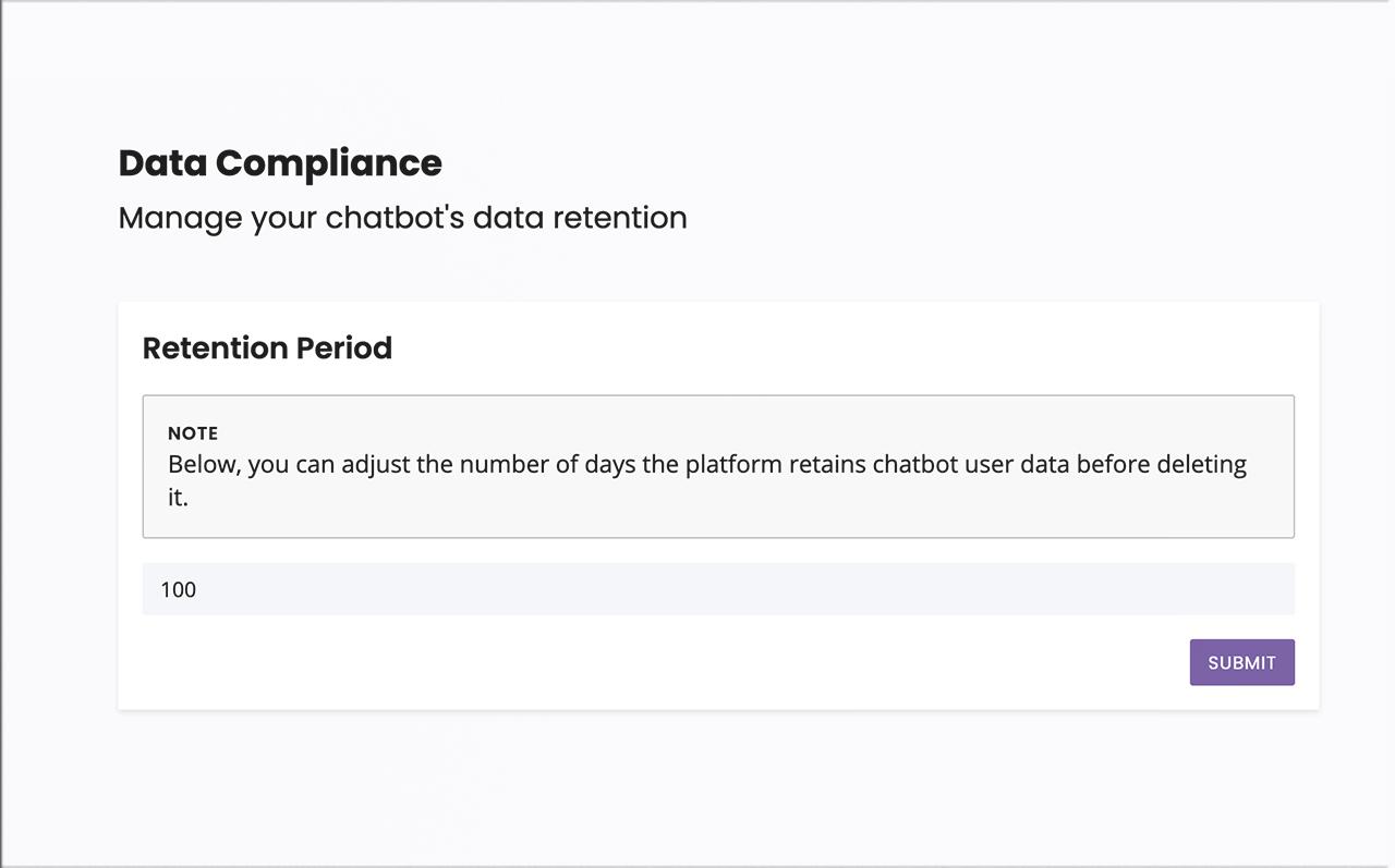 Configure your chatbot's data retention period