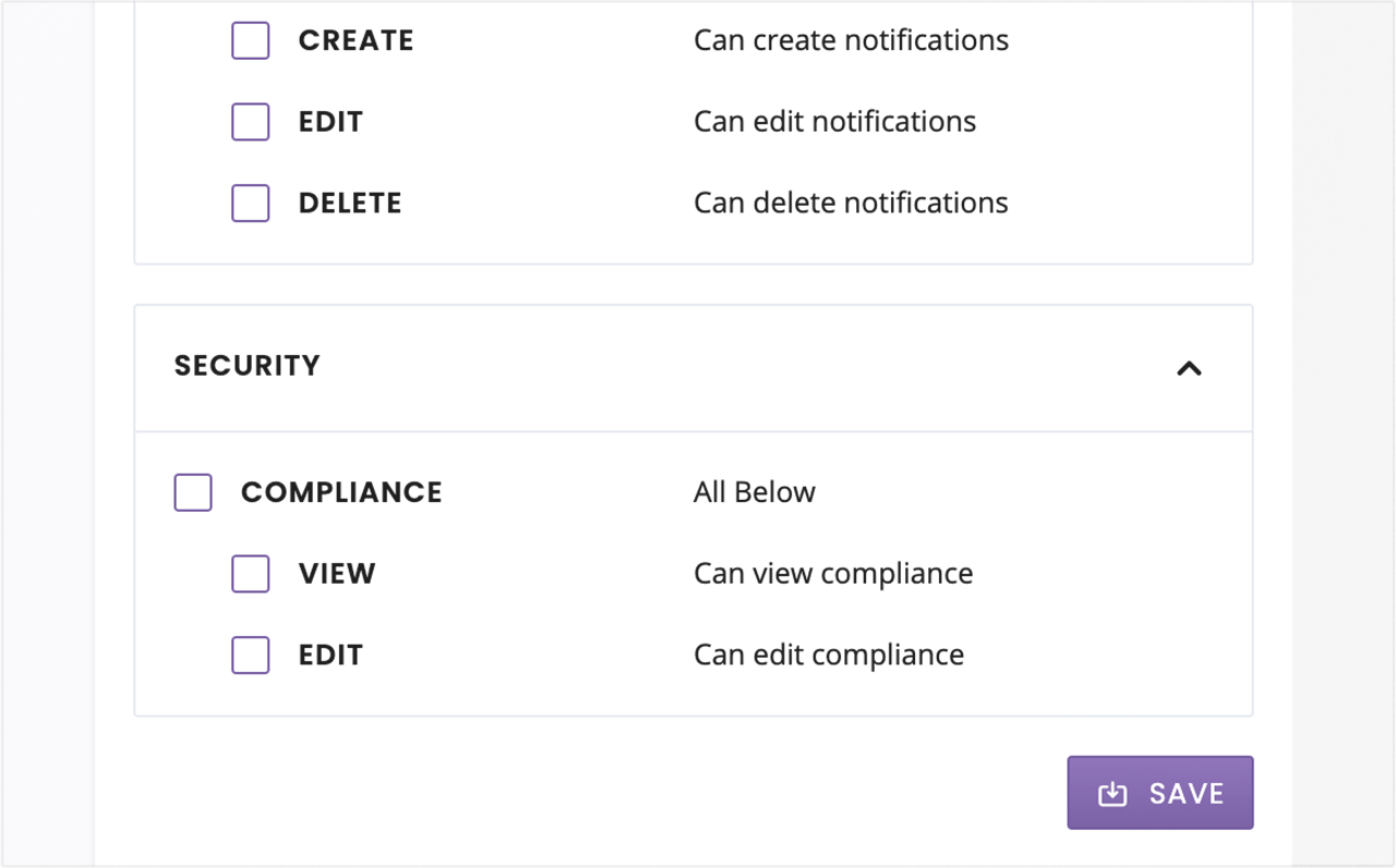 Restrict access to data and features