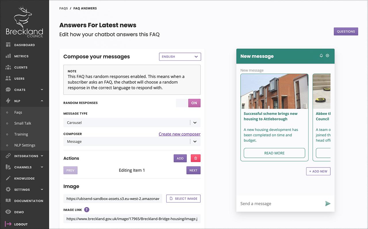 ubisend scalable chatbot platform