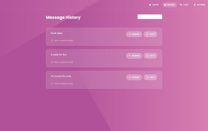 Full Page Chatbot message history