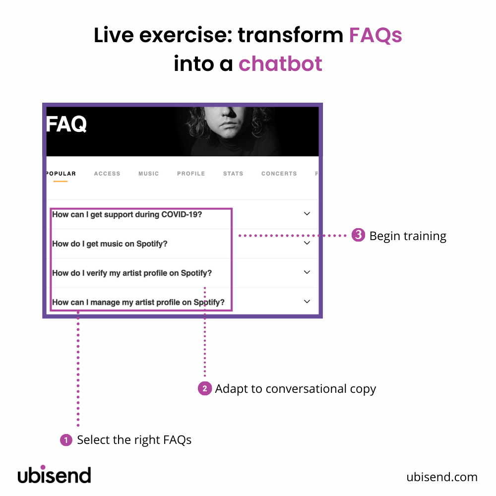 step by step faq into chatbot