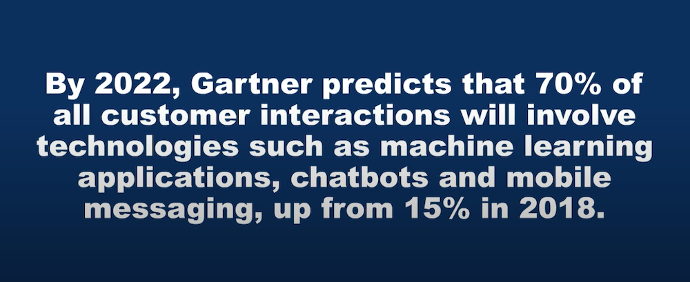 gartner survey 70% of customer interactions will use chatbots