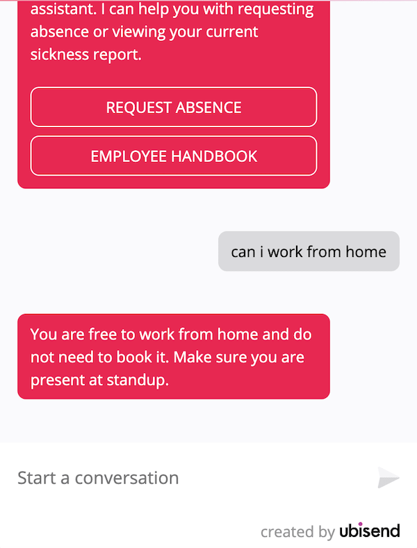 hr chatbot answers question about working from home