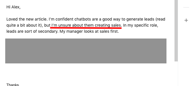 reader dubious about sales chatbot conversions