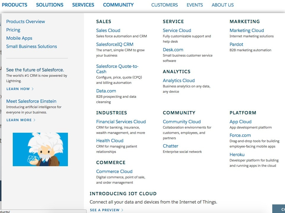 salesforce products page