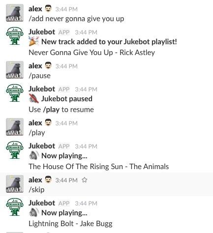 jukebot slack chatbot ubisend
