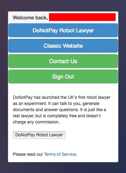 chatbot lawyer chosing screen