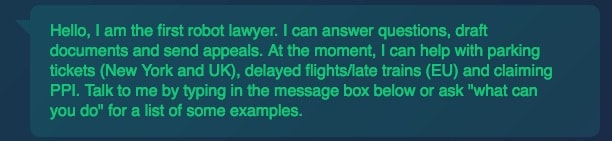 chatbot lawyer welcome message
