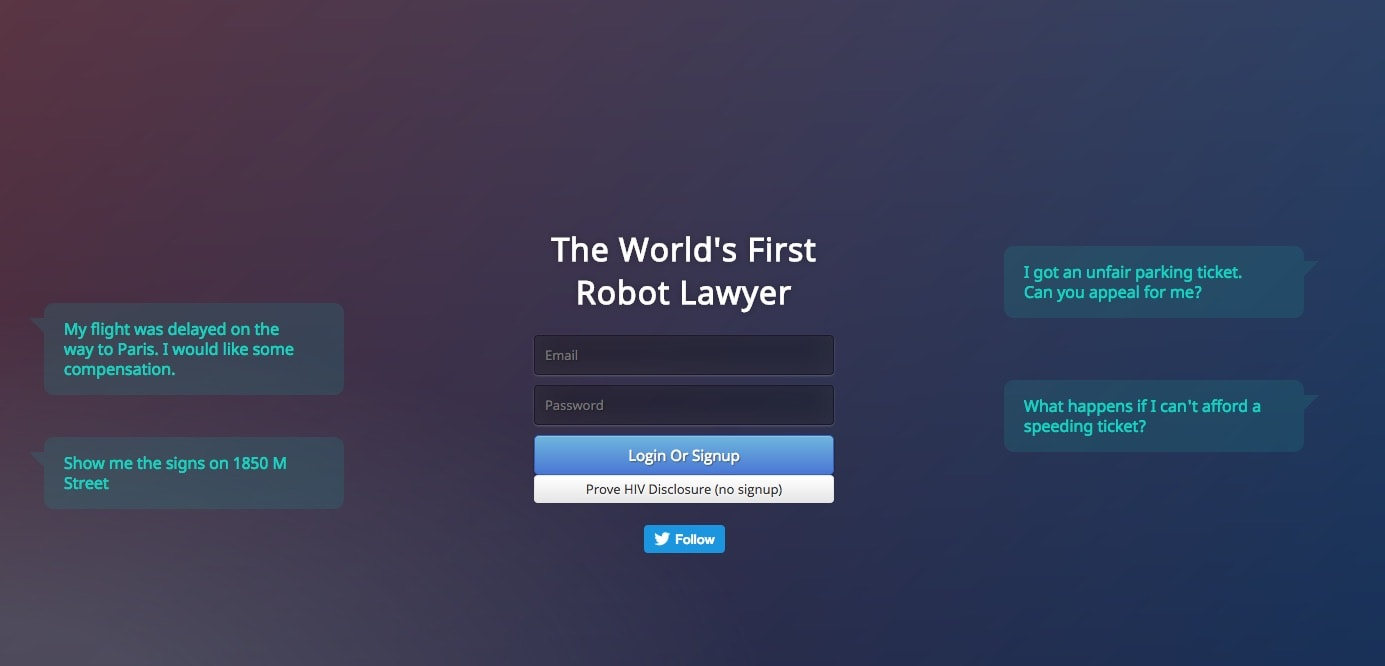 chatbot lawyer welcome screen