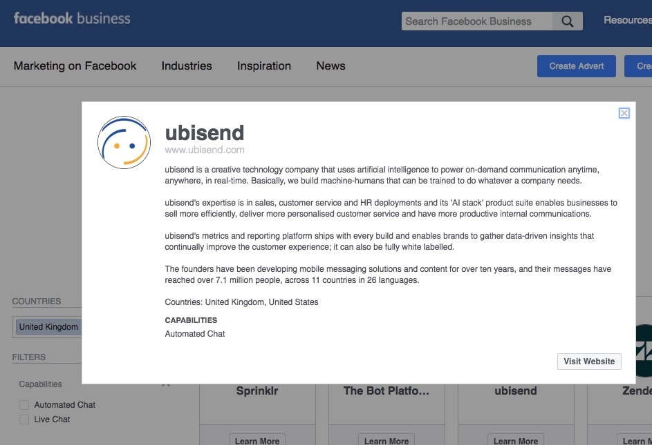 ubisend Facebook Messenger Platform Development Provider Directory