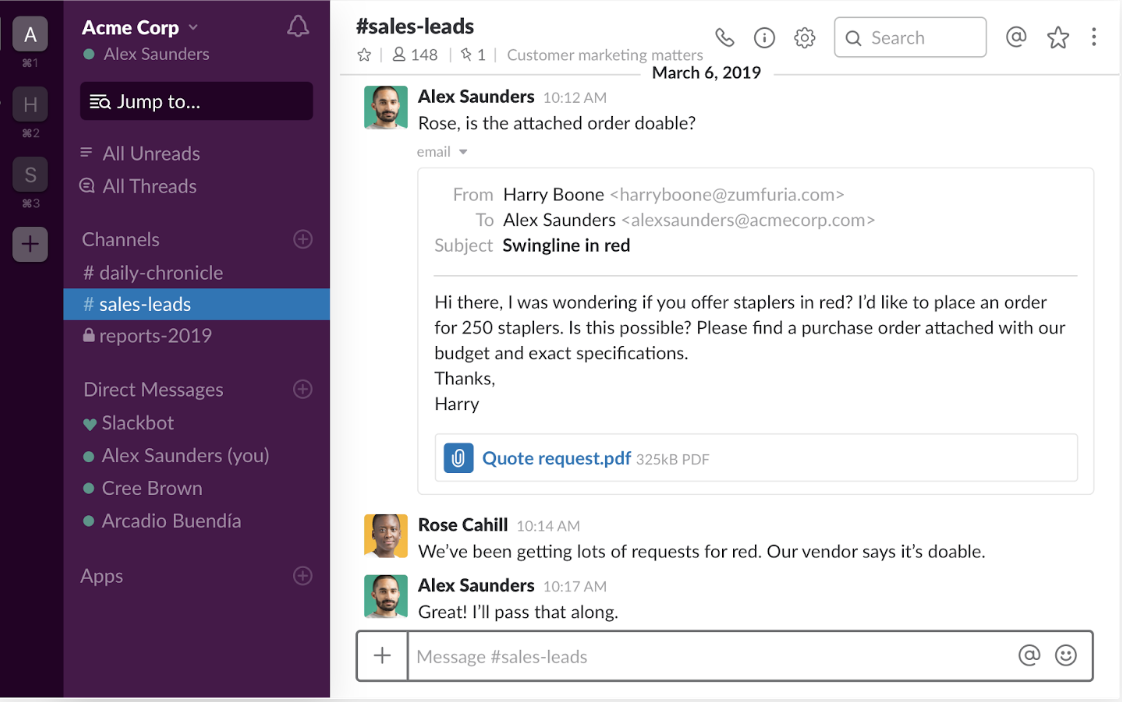 slack as one to one communication channel