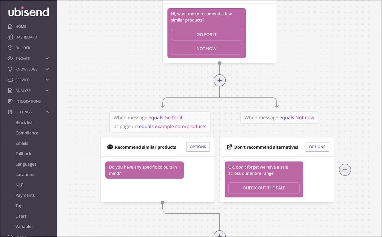 ubisend automated sales chatbot