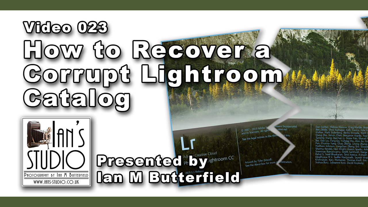 VIDEOCAST 23 Aug 2015: How to recover a corrupt Lightroom catalog