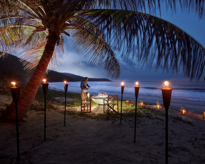 Private beach dining at Mandarin Oriental, Canouan