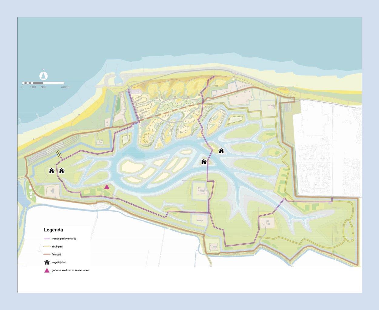 Kaart Waterdunen met indicatie wandelpad