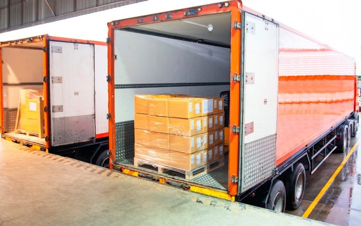 Boxes for donation loaded into the back of a truck