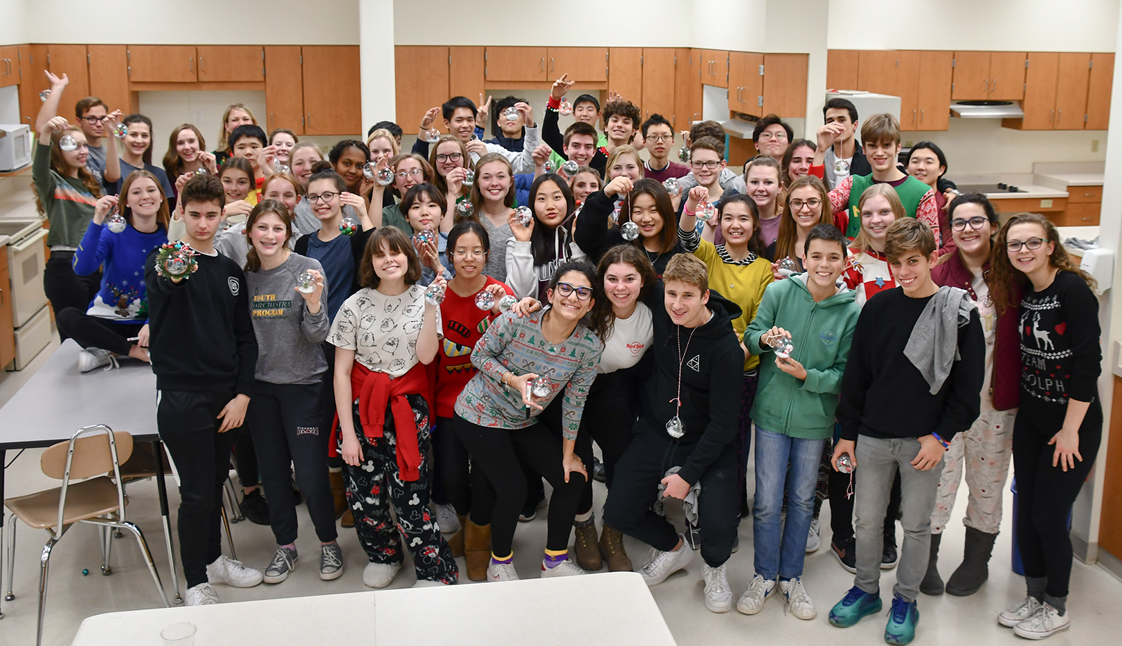 Large group of international students