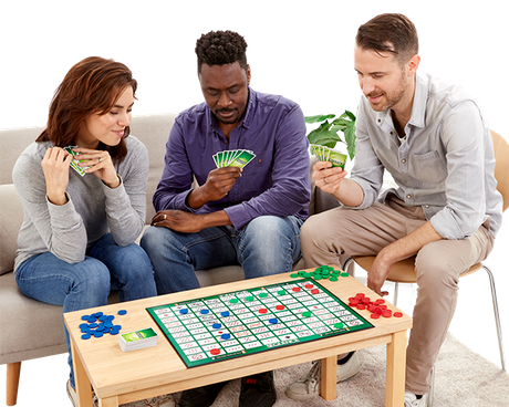Friends playing Sequence game