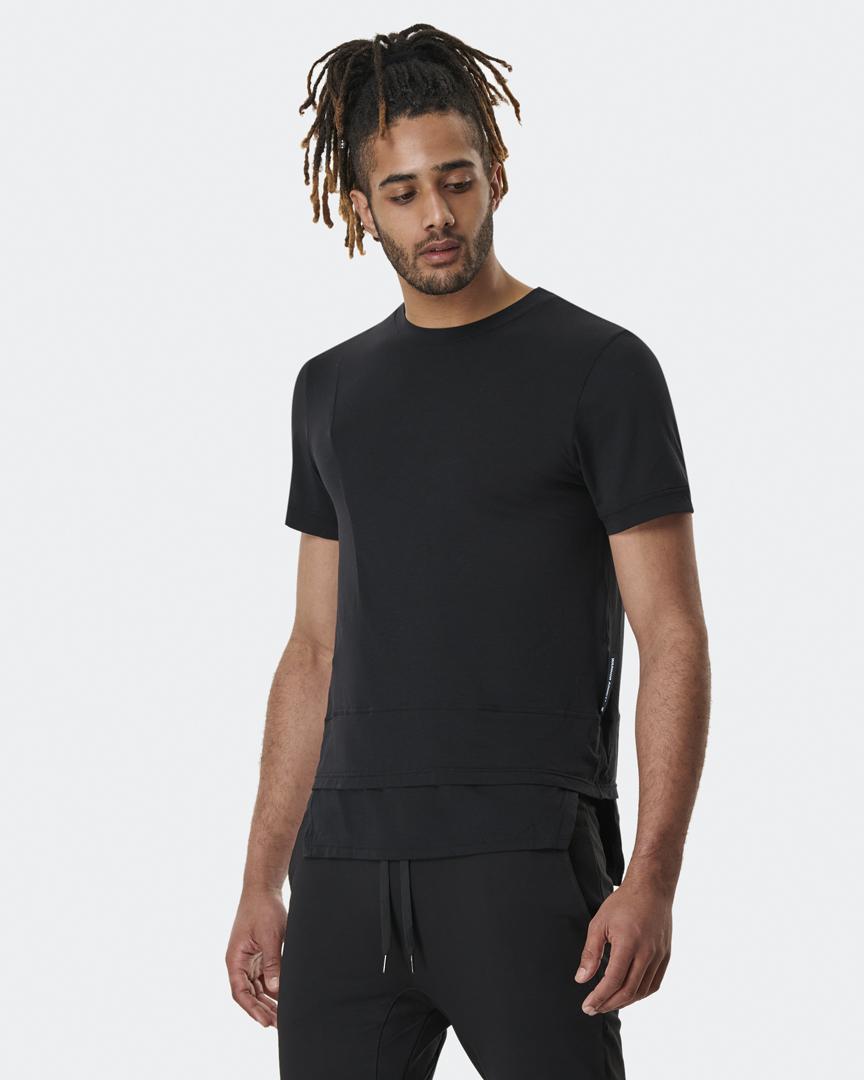 warrior addict mens yoga top a symmetry black t shirt front model shot