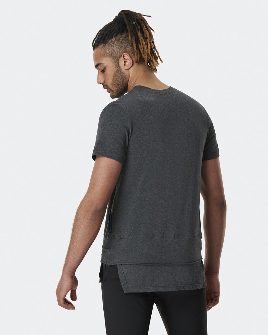 warrior addict mens yoga top a-symmetry grey t-shirt back model shot