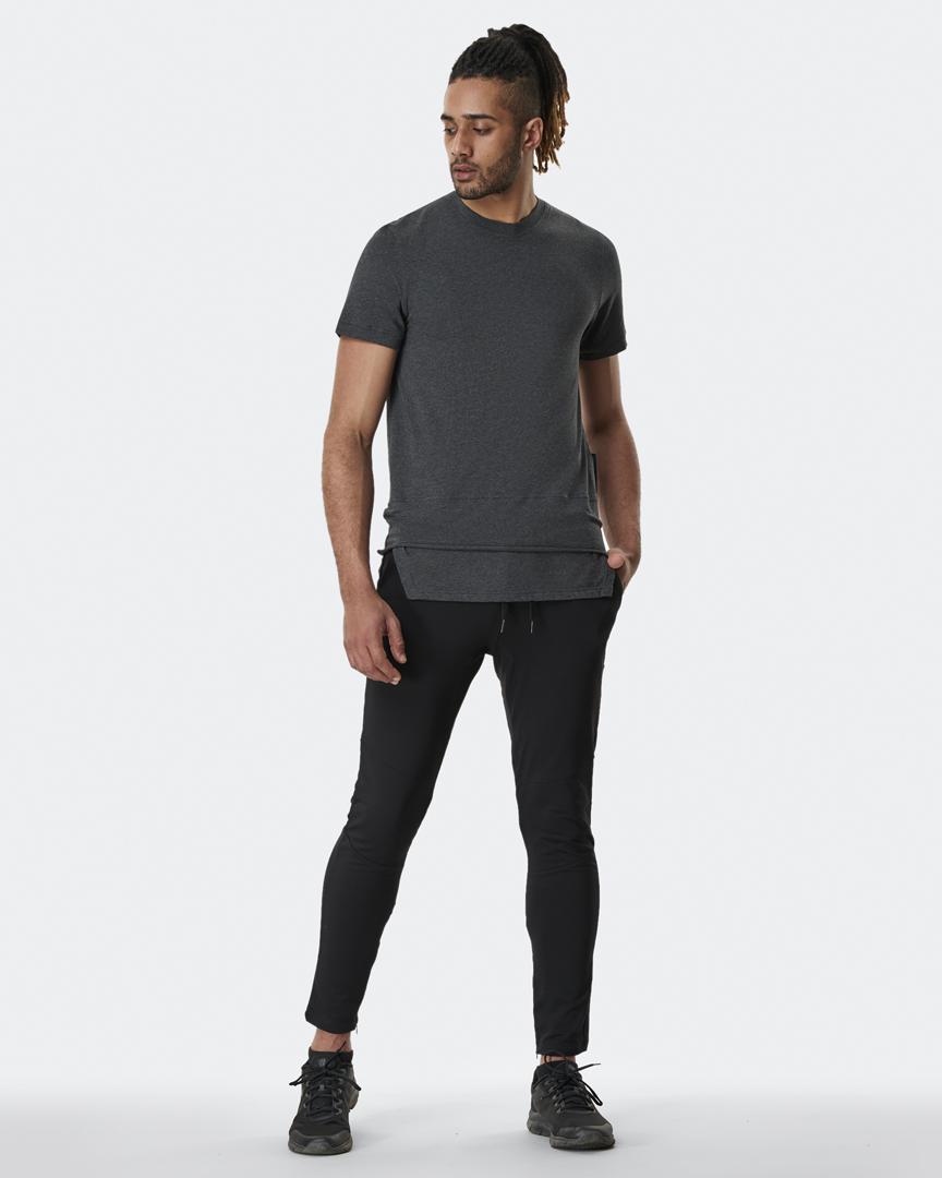 warrior addict mens yoga top a-symmetry grey t-shirt full body model shot