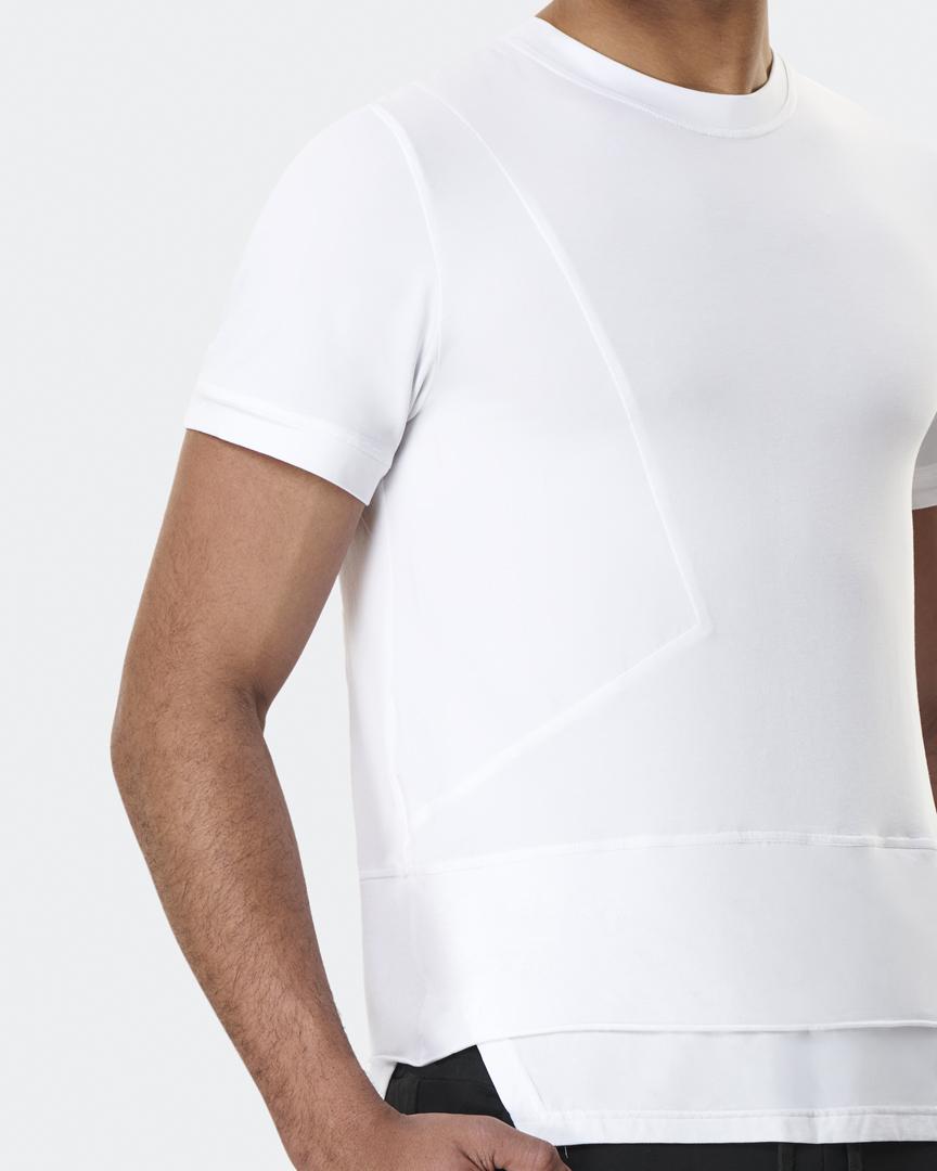 warrior addict mens yoga top a symmetry white t-shirt front detail model shot