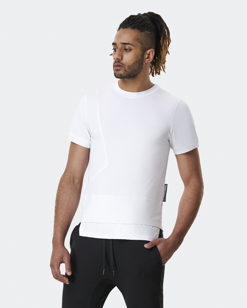 warrior addict mens yoga top a-symmetry t-shirt white front model shot