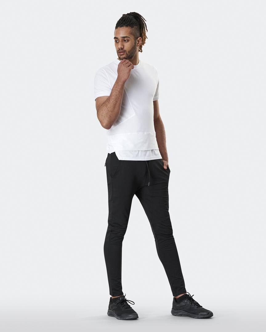 warrior addict mens yoga top a-symmetry t-shirt in white full body model shot
