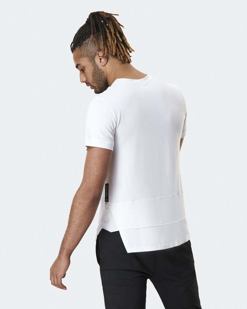 warrior addict mens yoga top a-symmetry white t-shirt back model shot