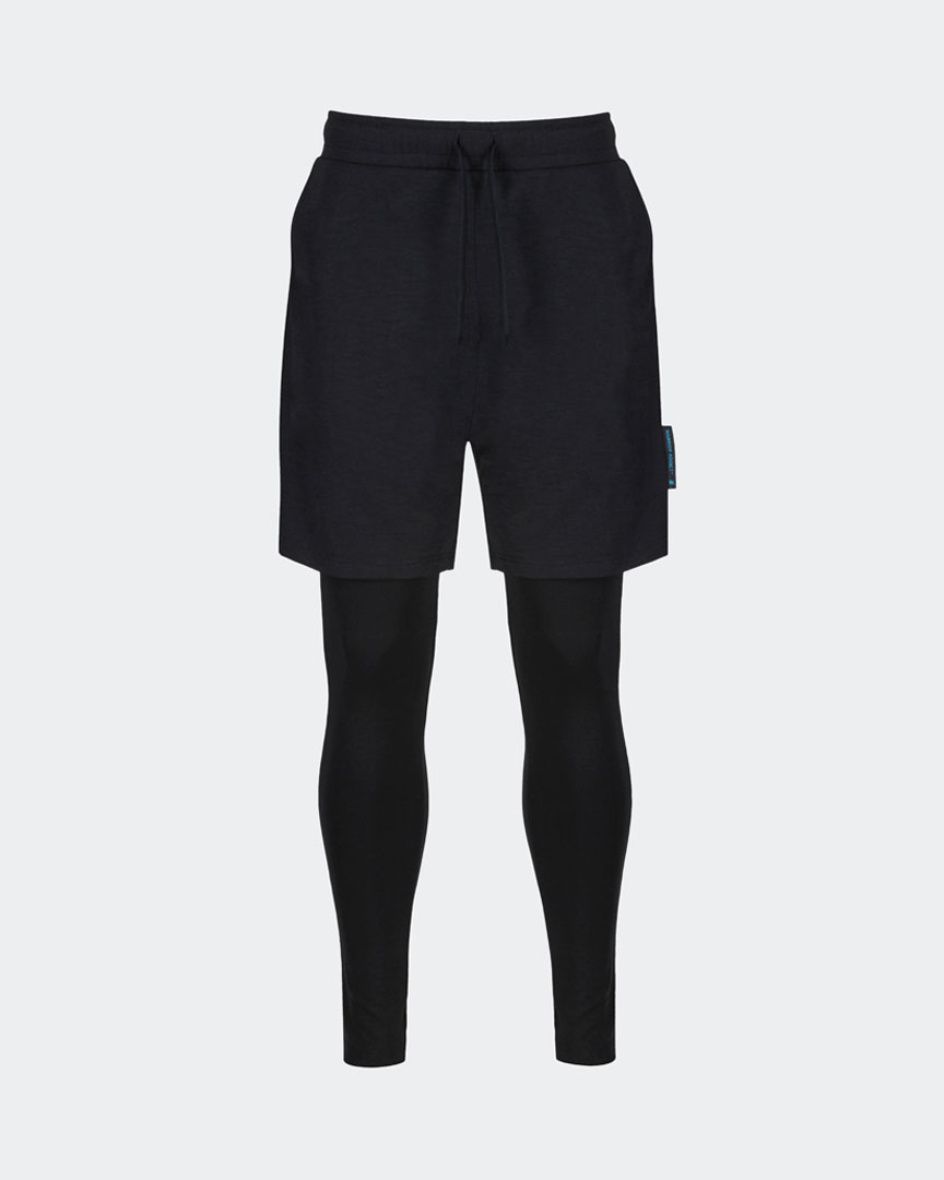 mens black yoga pants two in one with shorts and leggings front shot