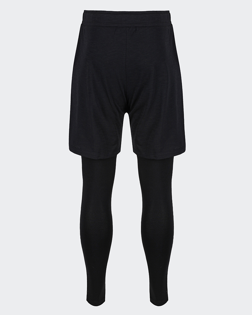 mens black yoga pants two in one with shorts and leggings back shot