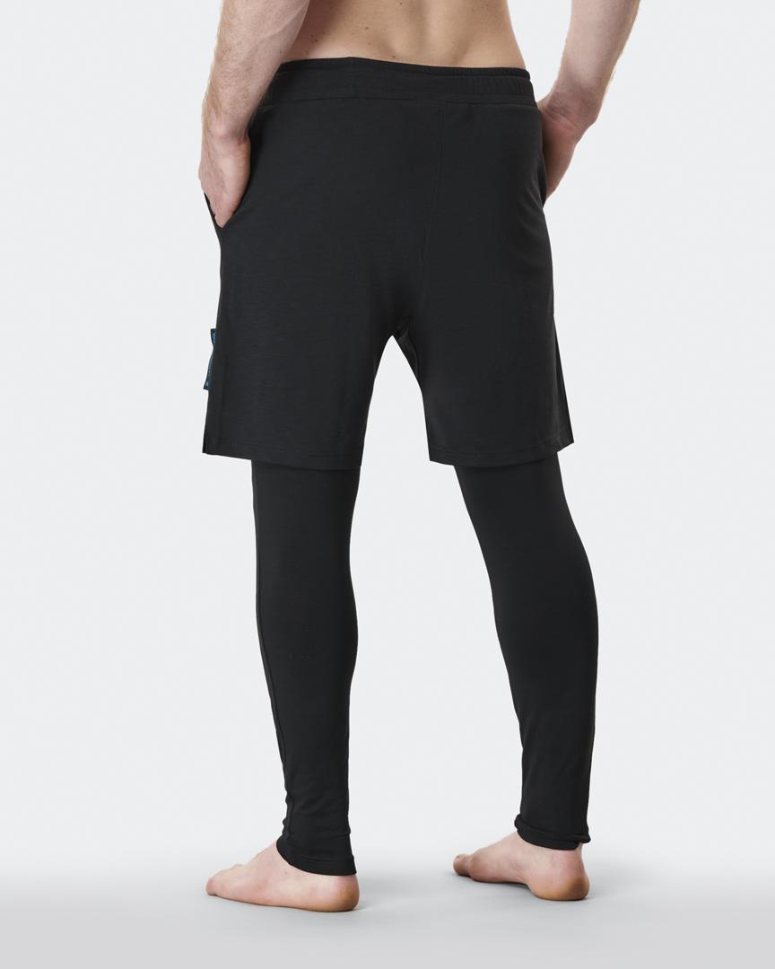 warrior addict mens yoga pants anti gravity  black back model shot